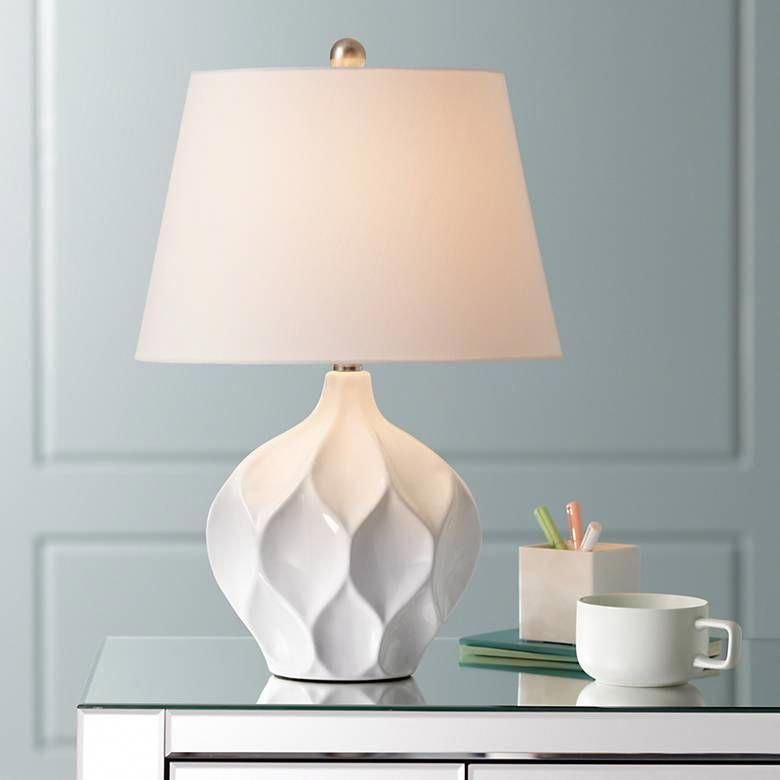 Dobbs White Ceramic Accent Table Lamp 39t67 Lamps Plus In 2021 White Ceramic Lamps White Table Lamp Bedside Table Lamps