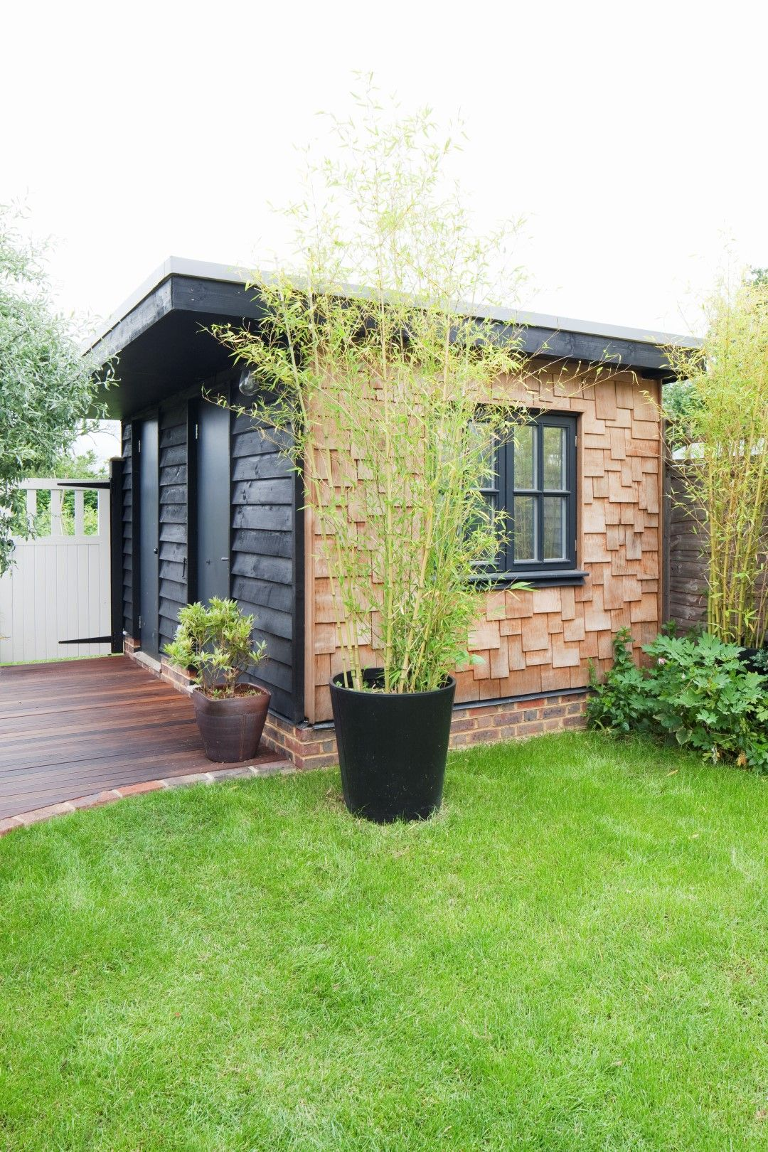 Flat roof garden shed / office | Timber cladding ...