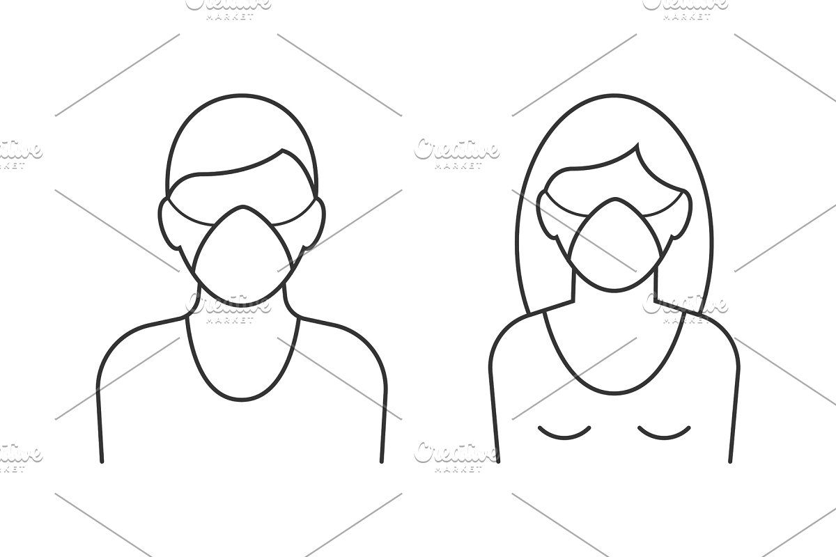 Man And Woman Wearing Mask In 2020 Face Health Medical Masks