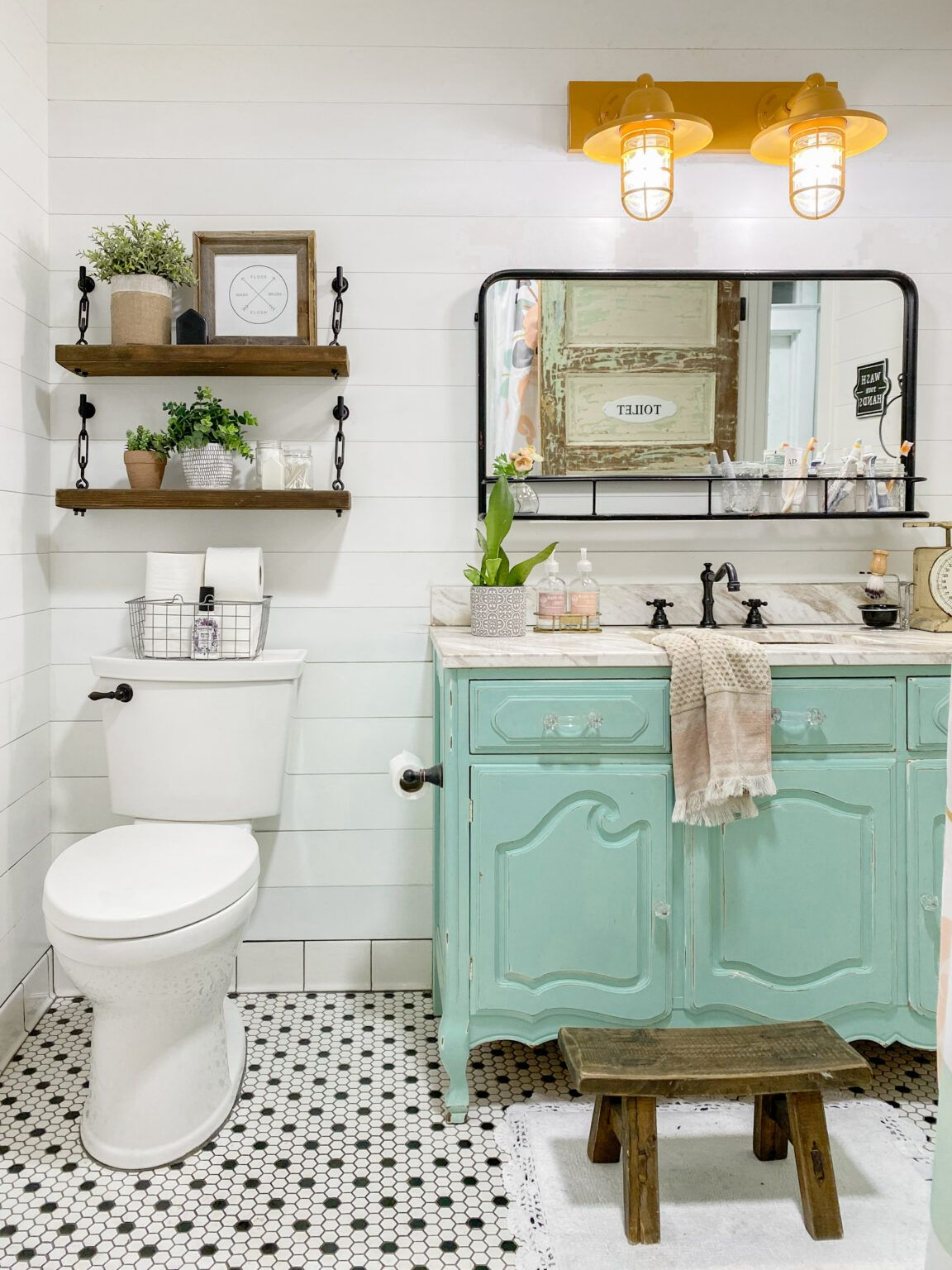 vintage dresser to bathroom vanity Lolly Jane in 2020