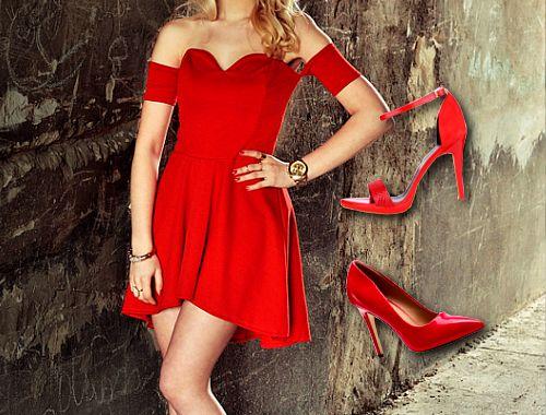 Czerwona Sukienka Czy Czerwone Szpilki Fashyou Pl Dresses Shoulder Dress Off Shoulder Dress