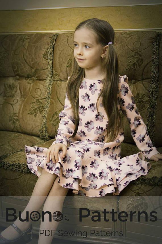 Long sleeve double flounce dress PDF sewing pattern, Girls dress ...