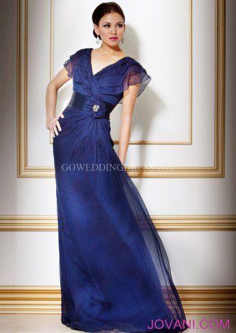 A-Line V-Neck Natural Floor Length Evening Dress