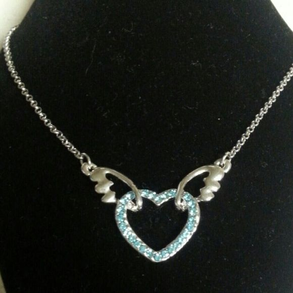 Blue cz heart and silver angel wing necklace One only Adj from 16-18 inches Blue cz Super fun necklace Hammock Beach Jewelry Jewelry Necklaces