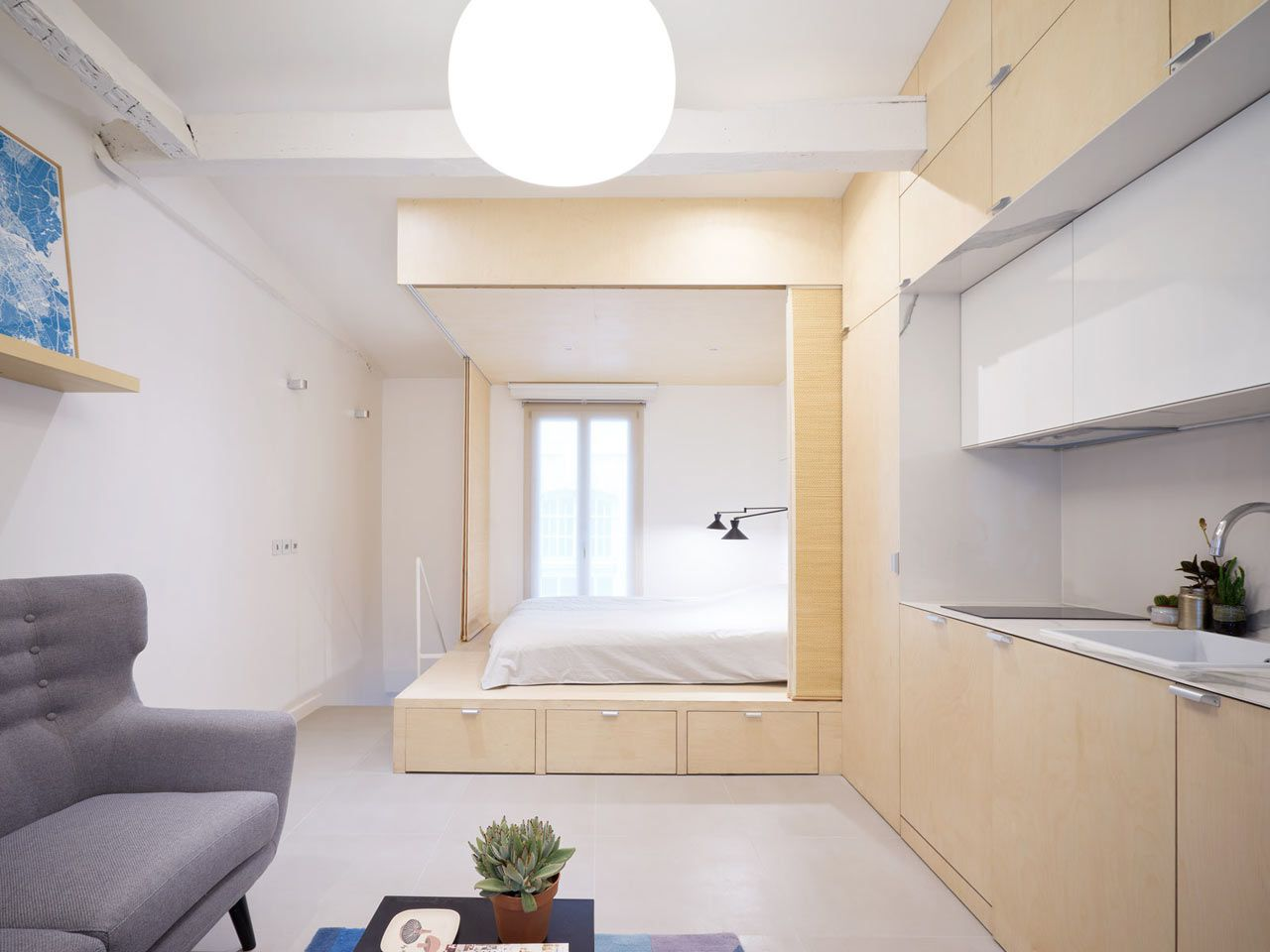 Urban cocoon is a compact apartment in paris that gets a modern