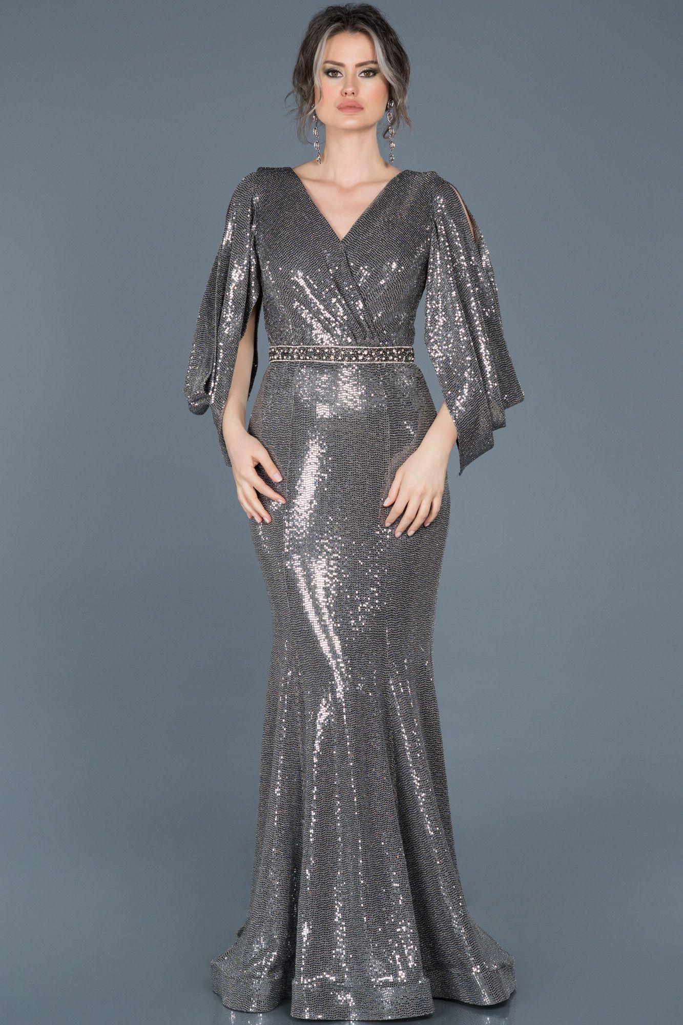 Antrasit Payetli V Yaka Balik Abiye Abu604 Payet Elbise Uzun Elbise Elbise Modelleri