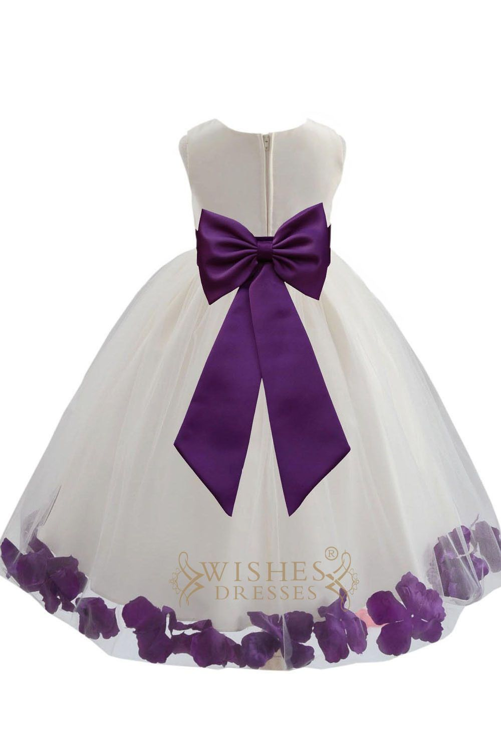 Cute Purple Detail Flower Girl Dresses Am224 | Moños, Boda púrpura y ...