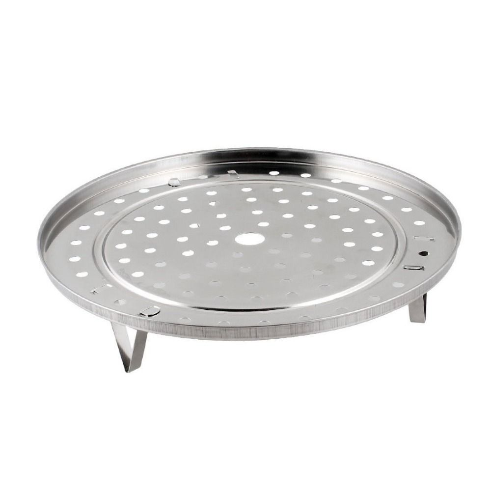 25.5 cm Hot Silver Tone Metal Steaming Rack Tray w Stand For Cooker ...