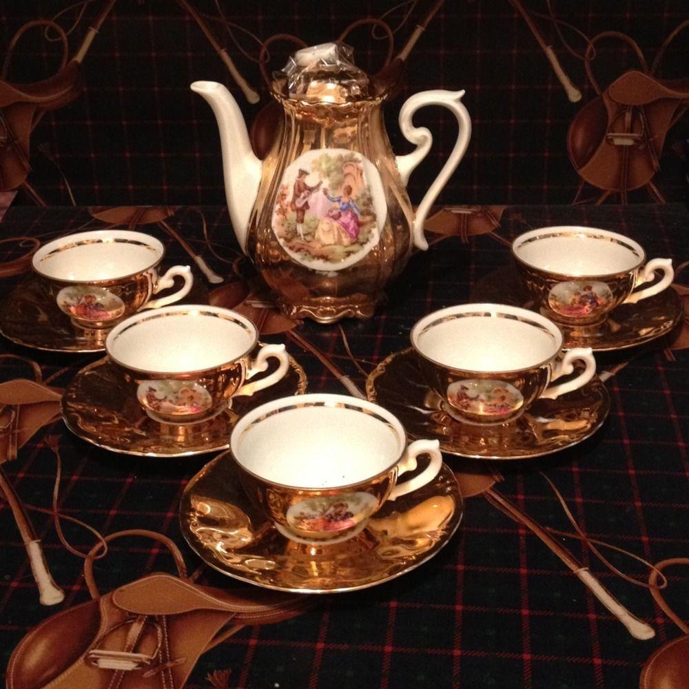 Vintage Jwk Bavaria Porcelain Tea Set Cups Saucers Pitcher West