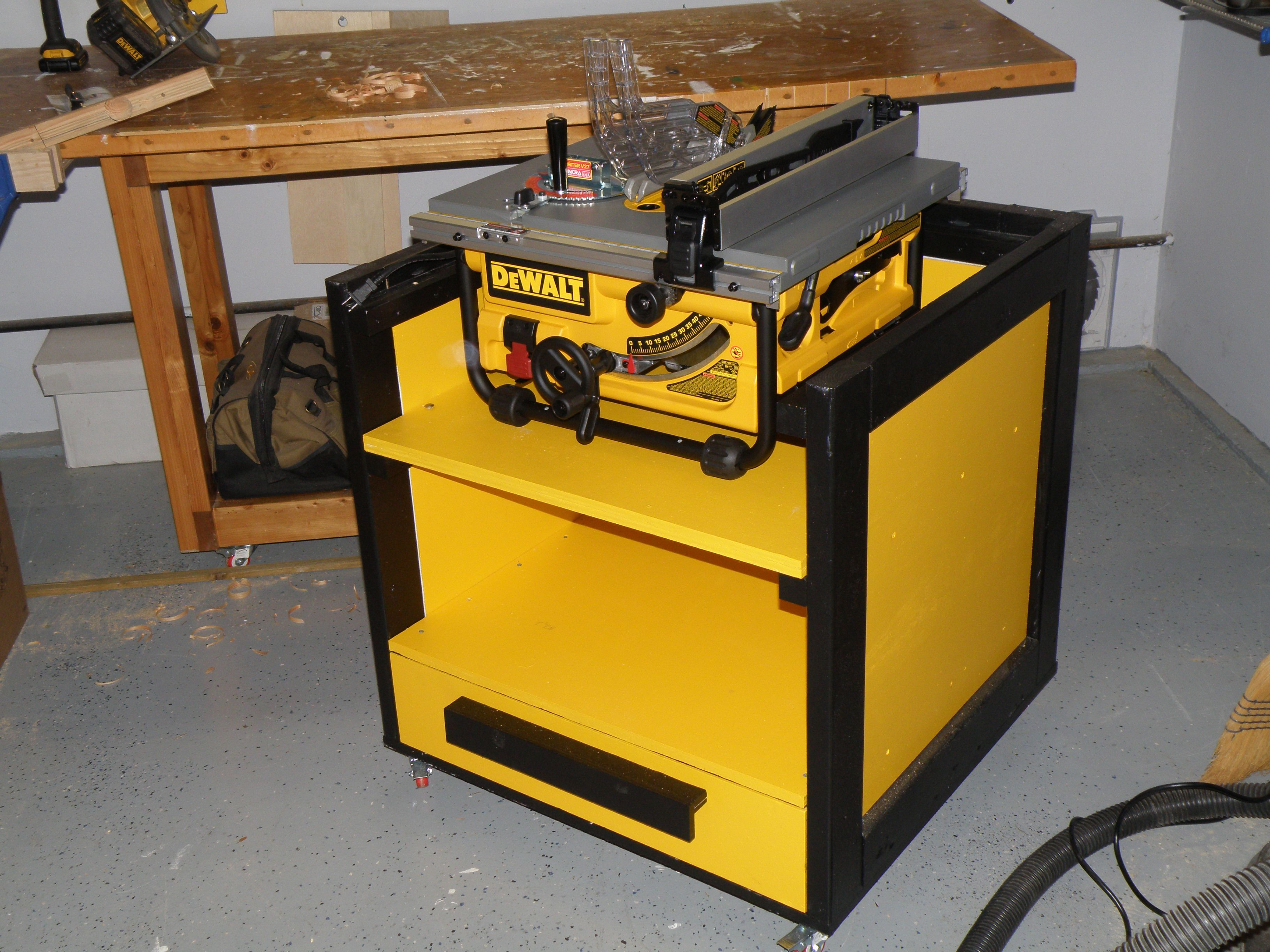 Mobile Table Saw Stand In The Storage Position Sits On Top Of Drawer Middle Shelf Repositions To Making It A