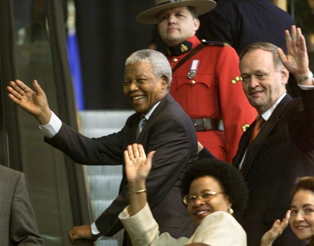 Nelson Mandela in Ottawa after receiving his honourary citizenship