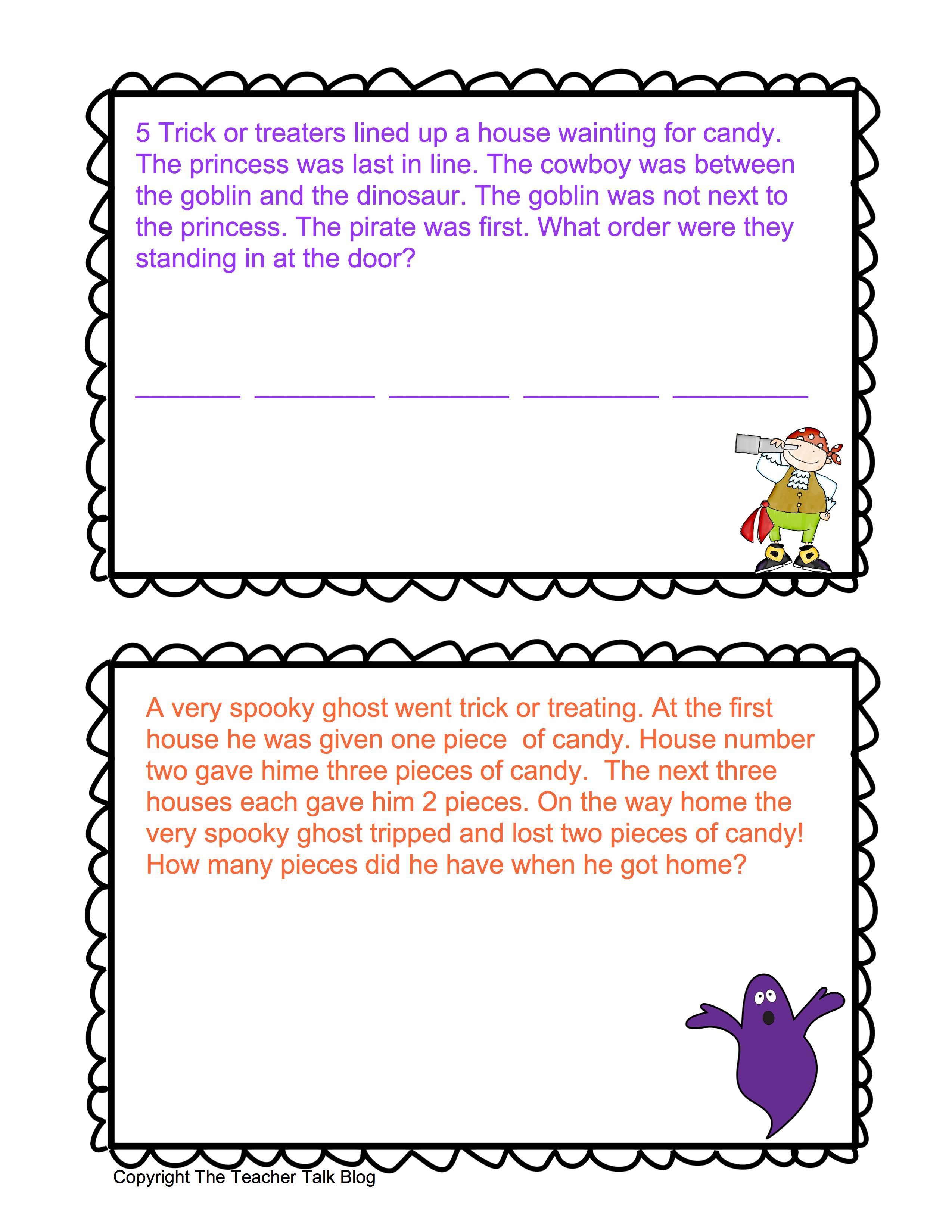Halloween Math Word Problems With Images