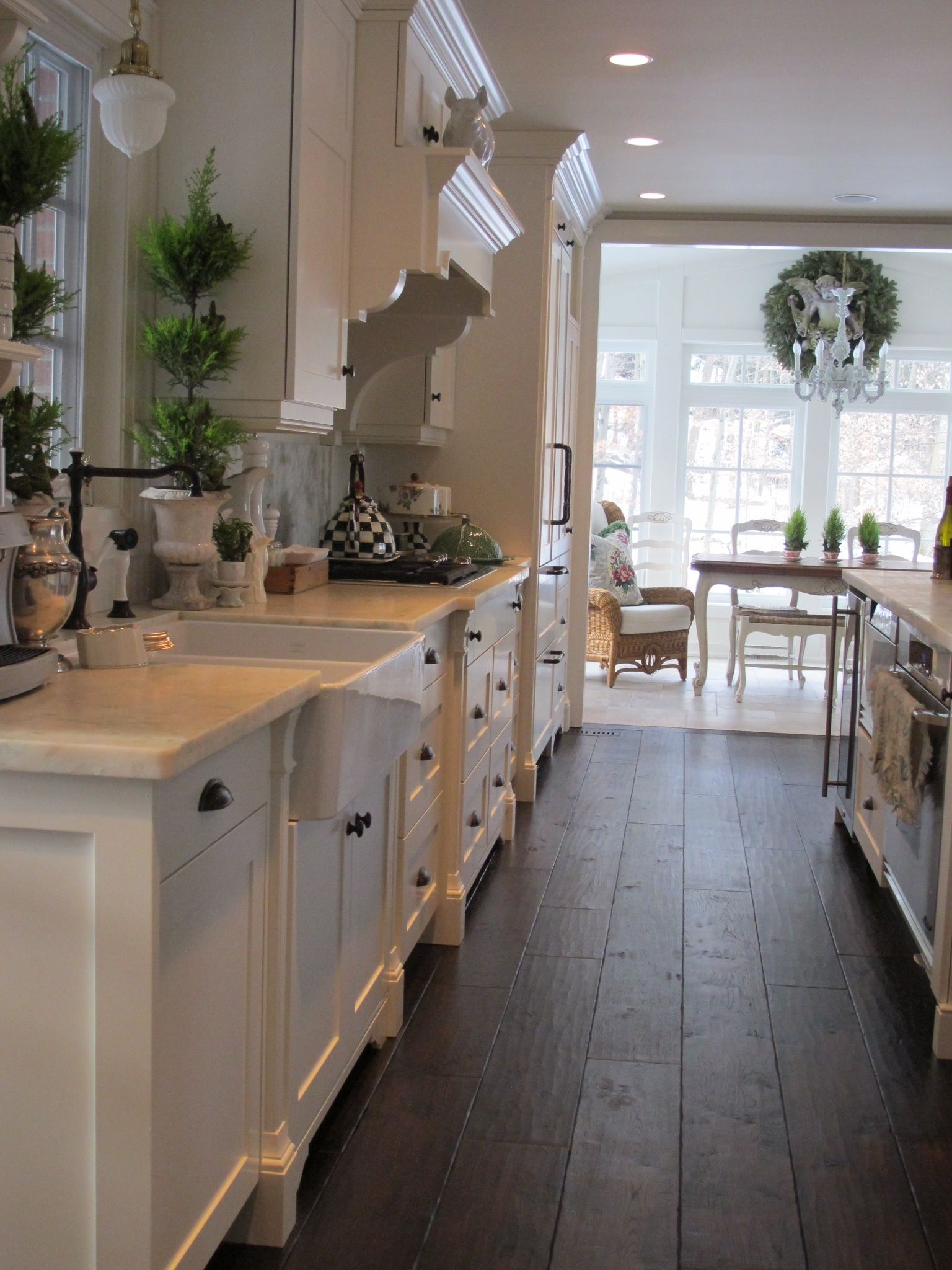 Shaker Inspired Cabinetry...dark Hickory Wood Floors Anchor All The  White...honed Marble Counters..Acorn Lane