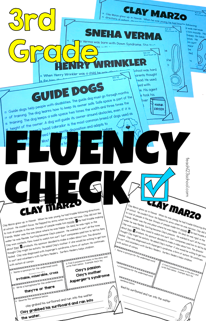 Reading Fluency Passages Third Fourth Fifth Word Work ...