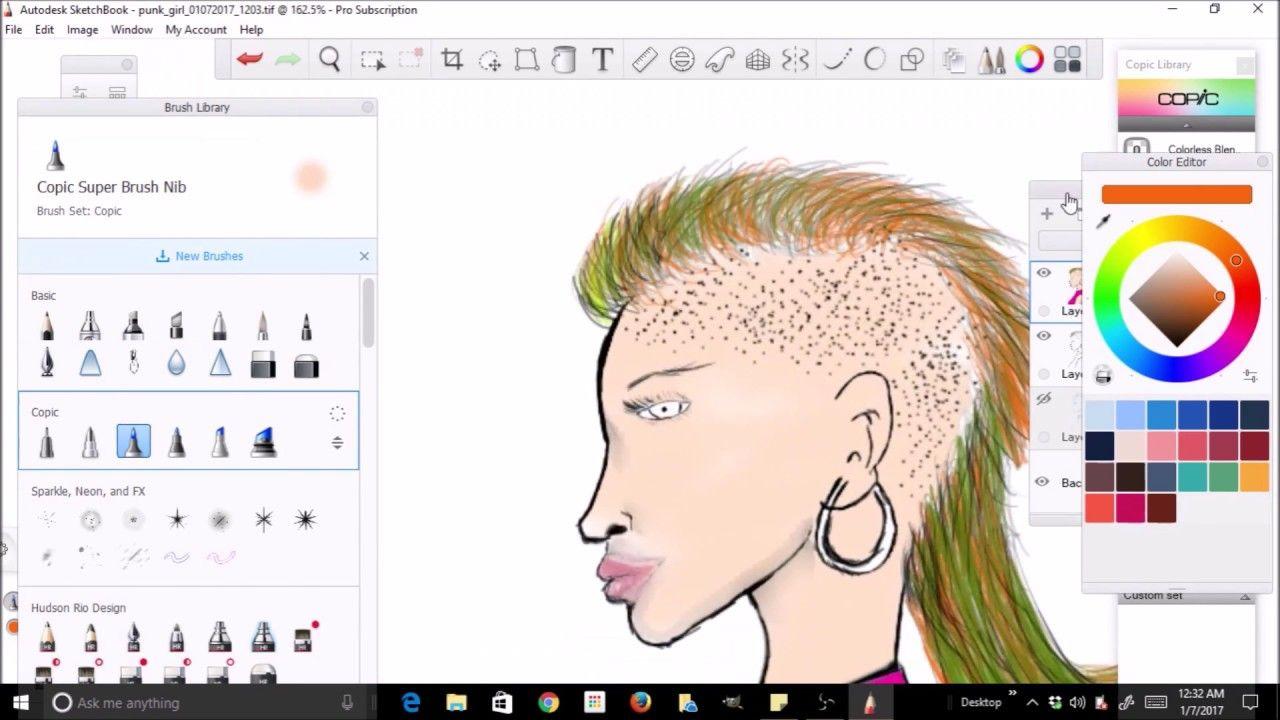 Autodesk Sketchbook Pro Punk Girl Speed Draw Paint Sketch Book