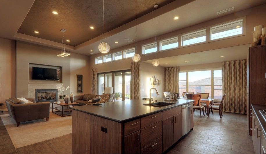 Cool Home Interior Design Ideas In Open Flooring Plan Layout : Contemporary  Classic Kitchen Living Room Design In Open Plan Layout Along With High  Ceiling ...