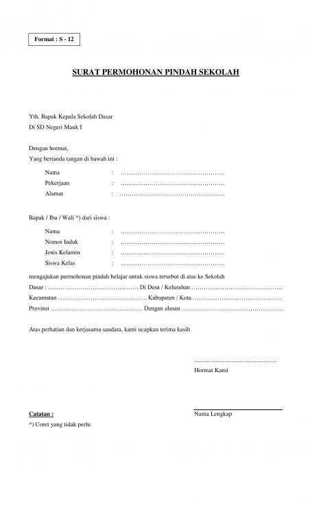 Contoh Surat Keterangan Pindah Sekolah : contoh, surat, keterangan, pindah, sekolah, Contoh, Surat, Permohonan, Pindah, Tempat, Kerja