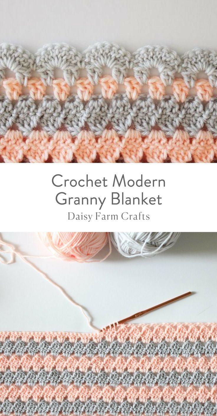 Plaid Fatto Ai Ferri free pattern - crochet modern granny blanket | häkelmaschen