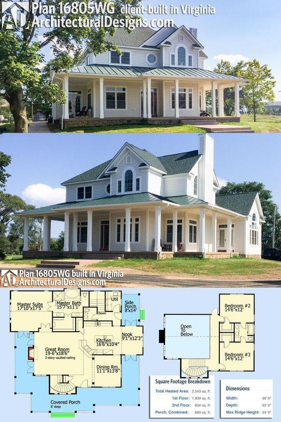 Plan 16805wg Country Farmhouse With Wraparound Porch Porch House Plans Country House Plans House Plans Farmhouse