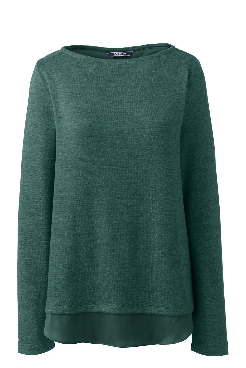 129d729d Women's Knit Woven Mix Split Back Top from Lands' End | info | Tops ...