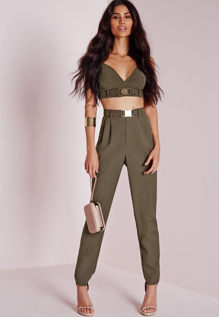 c9a0d6da395 Женские брюки хаки (65 фото)  с чем носить