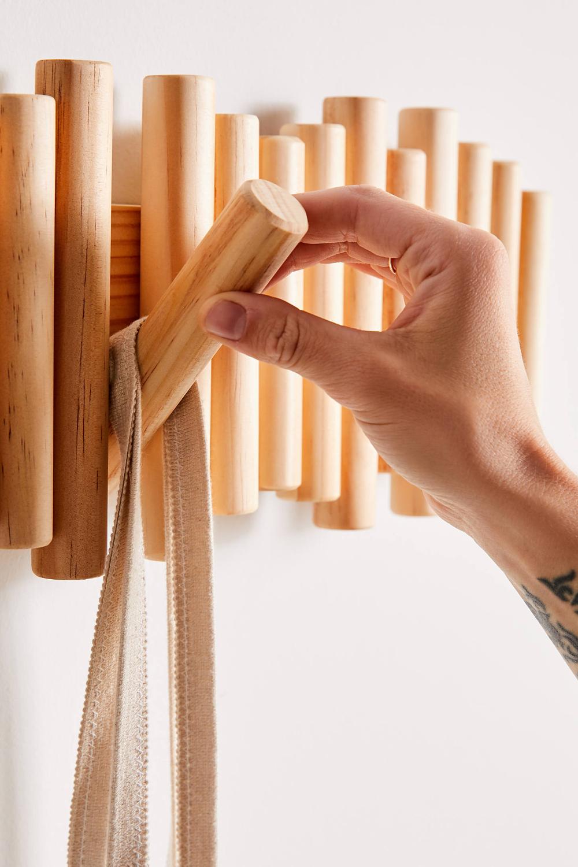 Bamboo Wood Self Adhesive Hooks Keys Rack Coat Bathroom Towel Wall Door Hangers