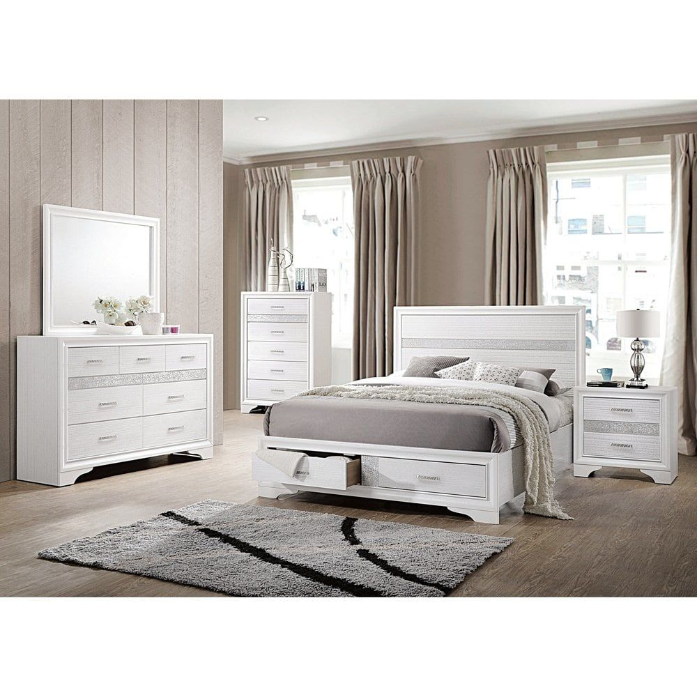 Miranda Contemporary White 4 Piece Bedroom Set Queen Coaster