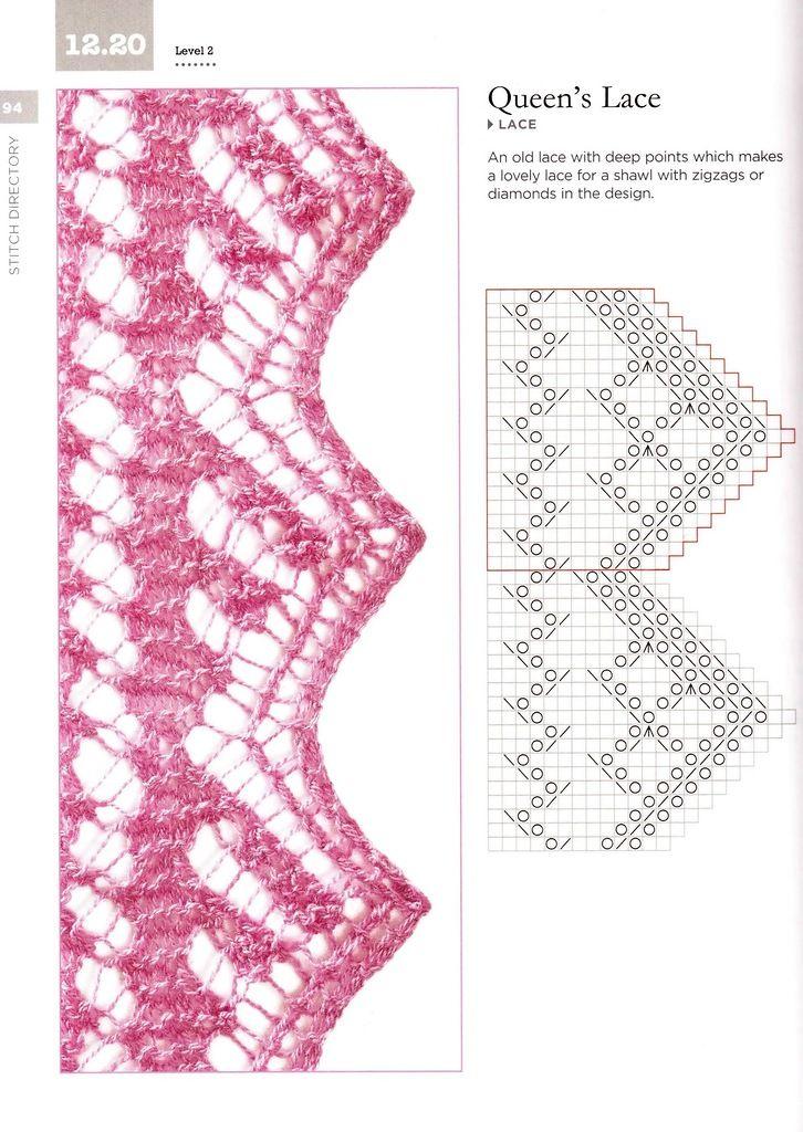 94.jpg | Lace stitch patterns | Pinterest | Strickmuster, Muster und ...