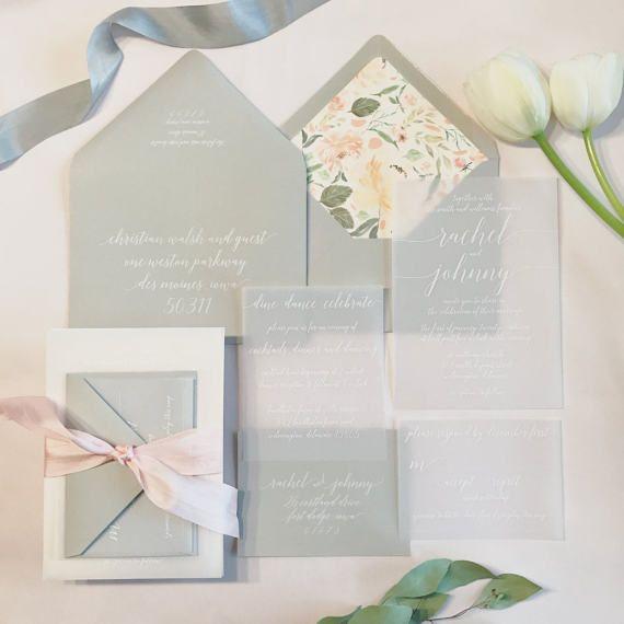 Katie Vellum Wedding Invitation Suite White Ink Printed On Vellum