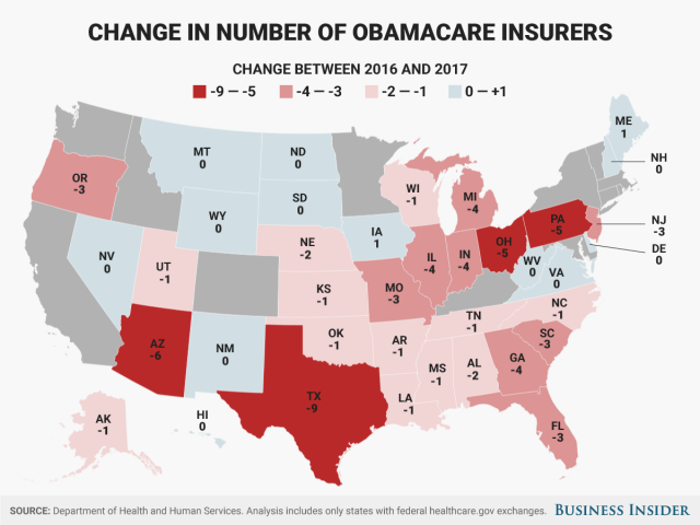 Here's how many insurers ditched each state's Obamacare