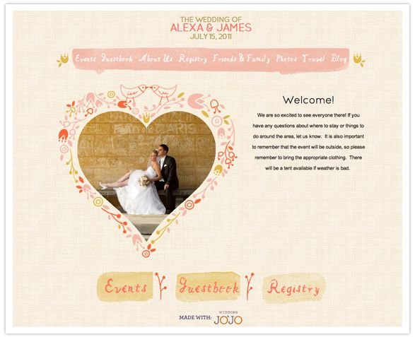 Great Wedding Website For The Couples, Stamped Style And