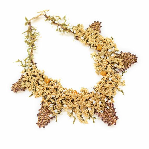 Necklace-Bohemian Wedding Autumn Leaf Golden Grass Japanese Bead Handmade flower Statement Necklace,Handmade Beaded Jewelry,Free Shipping
