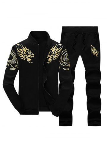Stand collar dragon print zip up jacket and pants twinset ccuart Image collections