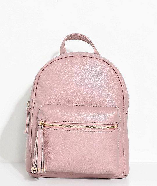 Mauve Faux Leather Mini Backpack  b867201be281d