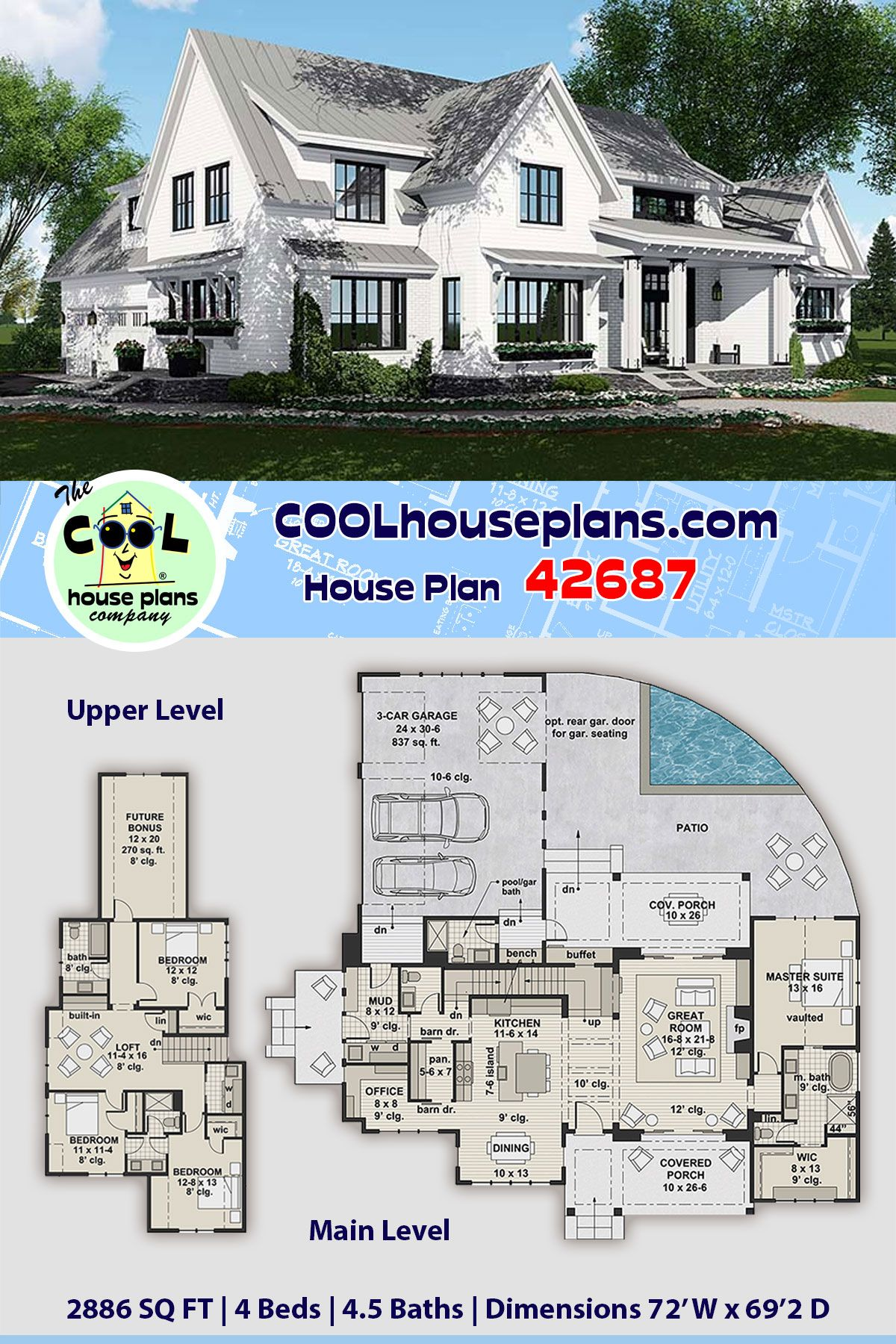 Traditional Style House Plan 42687 With 4 Bed 5 Bath 3 Car Garage In 2020 Pool House Plans House Plans Farmhouse House Plans