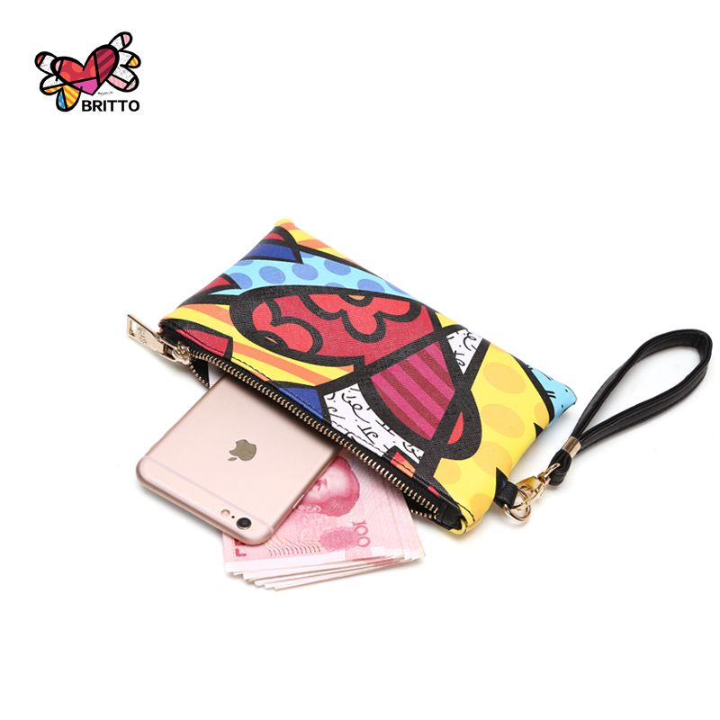 Achat BRITTO PU Porte-Monnaie Pour iphone 6 S Plus de Crédit et carte 2016 Ventes Chaudes Casual Coloré Graffiti Embrayage Zipper Poche à Monnaie
