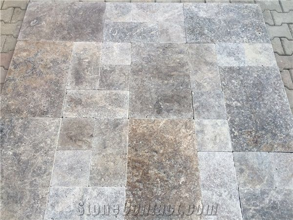 Silver Travertine Tumbled French Pattern Set Tiles Grey