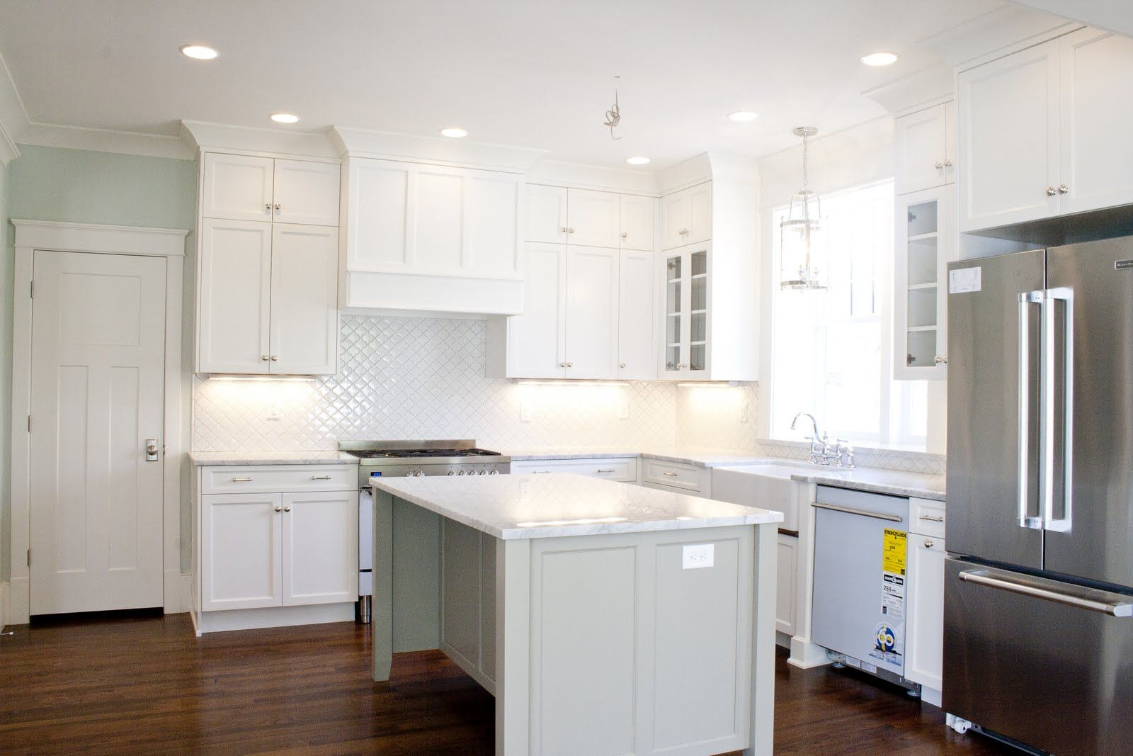 Wall Color For White Kitchen Loving The White Kitchen Tiek Built Homes Cabinets Is Bm Dune