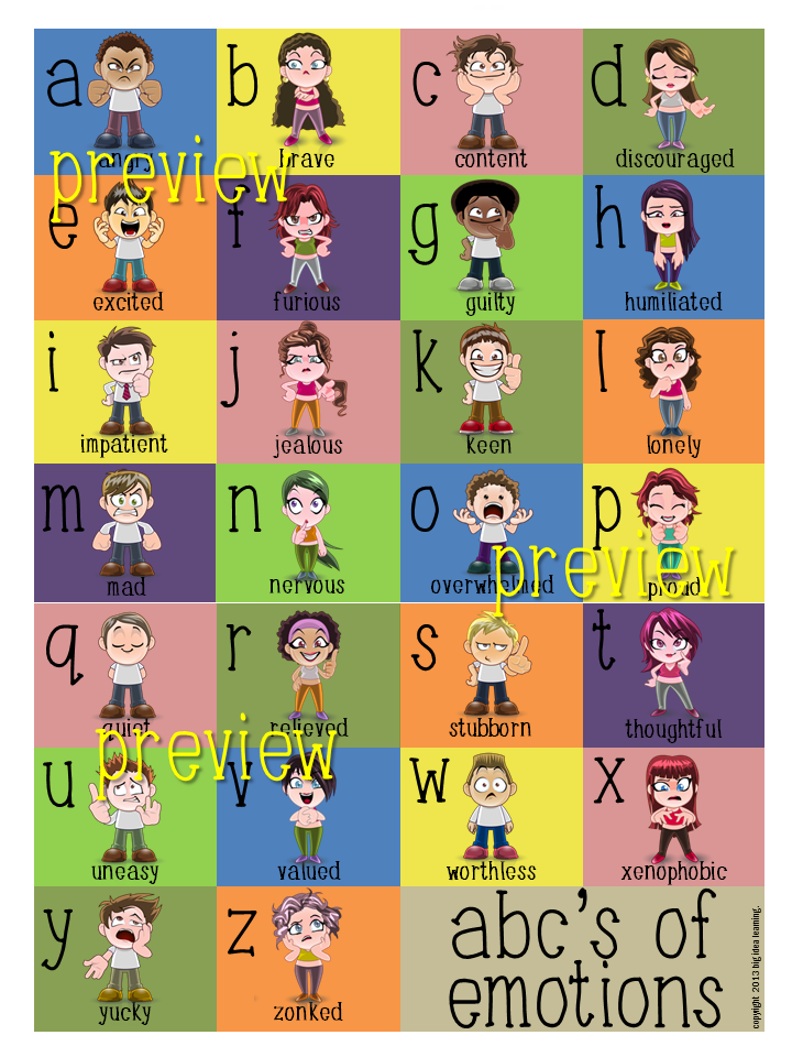 This Beautifully Presented Poster Defines 26 Feelings A Z Portrayed Through Word And Picture Descriptions Emotions Posters Social Emotional Learning Emotions
