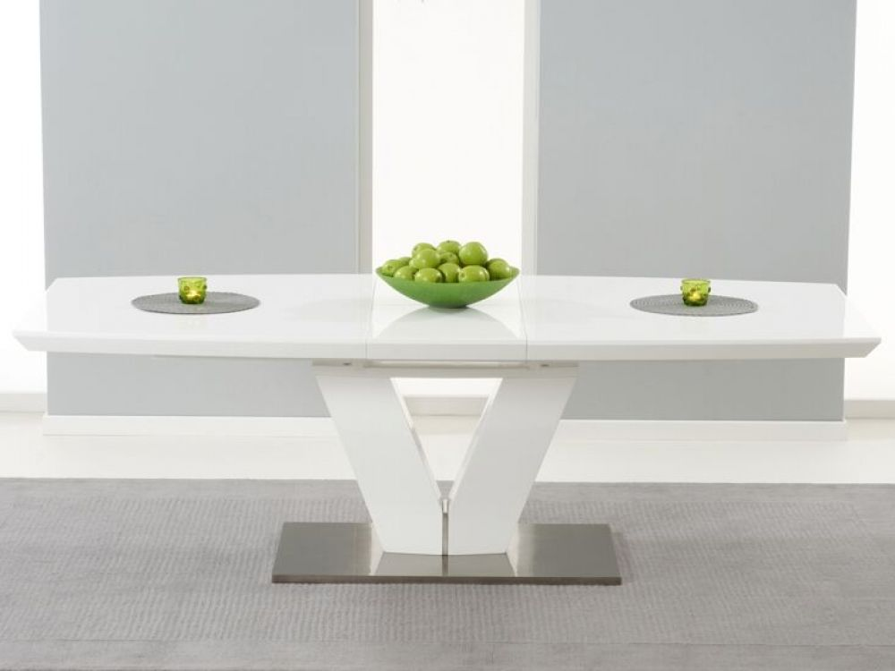 Malibu Extending White Gloss Dining Table | Dining Room | Tables ...