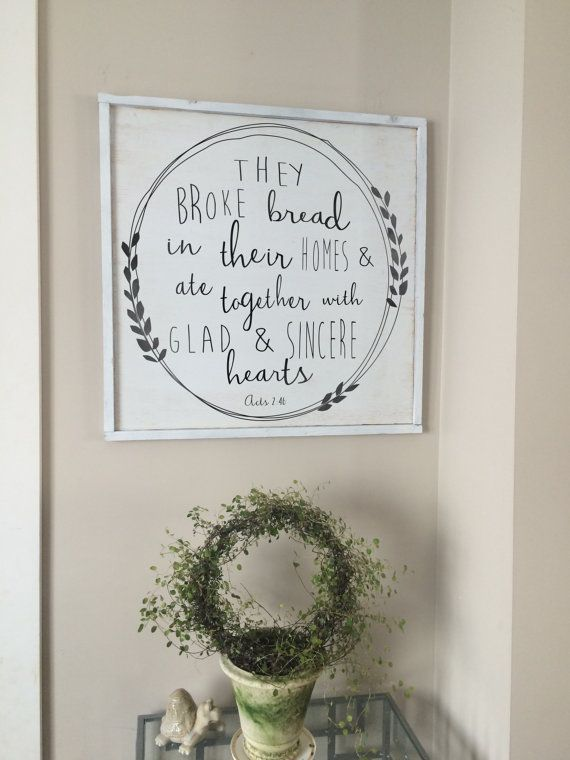 They Broke Bread Acts Bible Verse Kitchen Decor Scripture Art Dining Room Christian