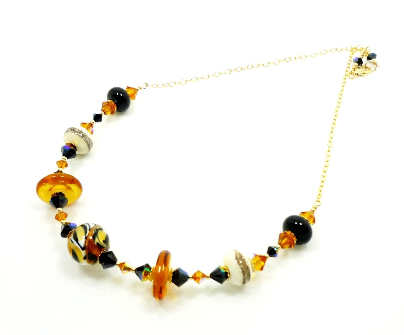 Animal Print Necklace Lampwork Necklace Beaded Necklace Glass Bead Jewelry Beadwork Necklace Animal Print JewelryUnique Trendy Jewelry (58.00 USD) by BeadzandMore