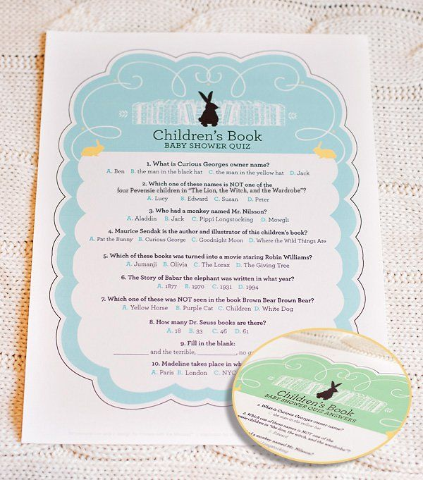 10 Creative Children S Book Themed Baby Shower Ideas Free Printable Quiz Bookplates