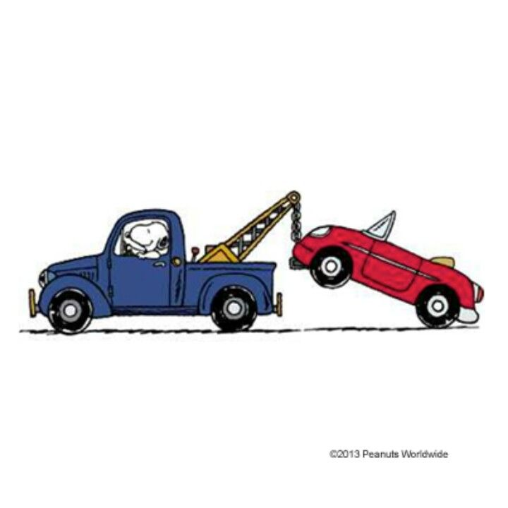 Snoopy In A Tow Truck Towing A Red Car I Love Snoopy