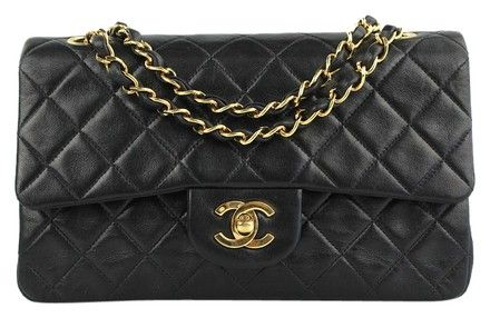dfd2d4023491 Classic Flap Quilted Small Black Lambskin Leather Shoulder Bag ...