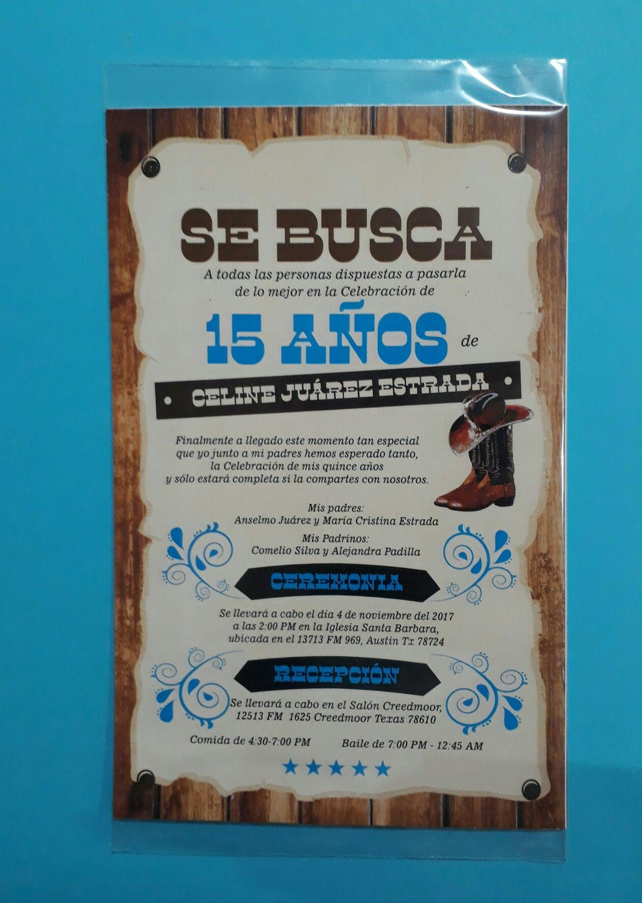 Invitacion Vaquera 15 Años Quinceaños Xv Años Vaquera