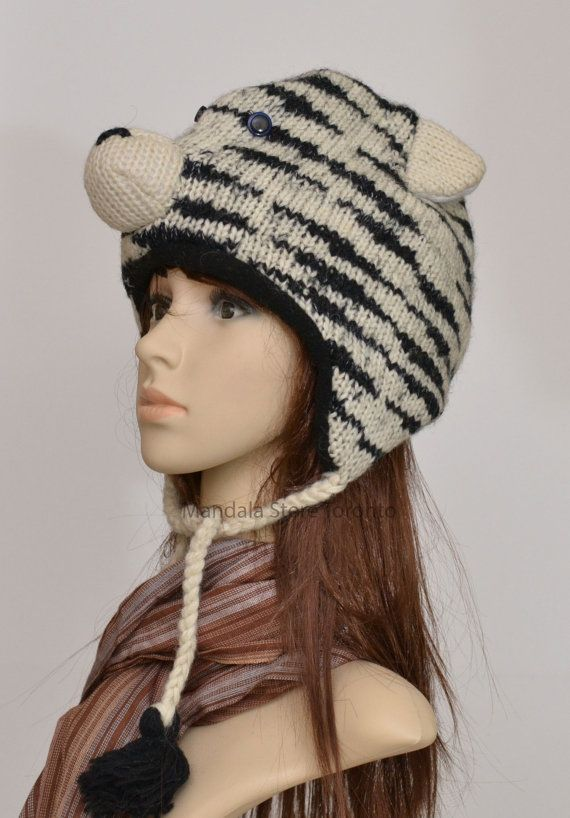 Fun Sheep Handmade Woollen Animal Hat Fleece Lining One Size UNISEX