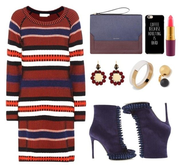 """""""Sweater dress!"""" by faten-m-h ❤ liked on Polyvore featuring Tory Burch, Marco de Vincenzo, Marni and polyvoreeditorial"""