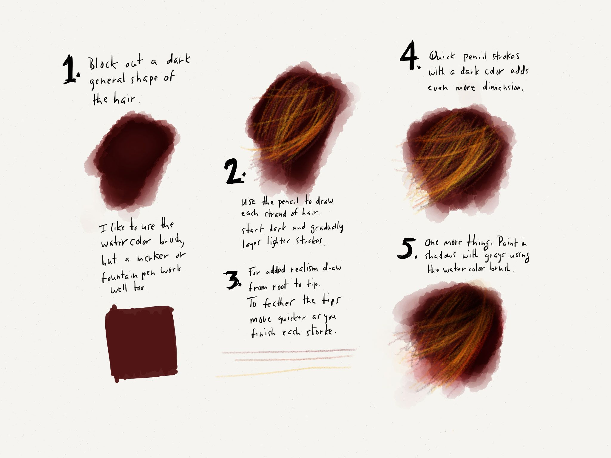 How To Draw Realistic Hair With Paper By Fiftythree Drawing Hair