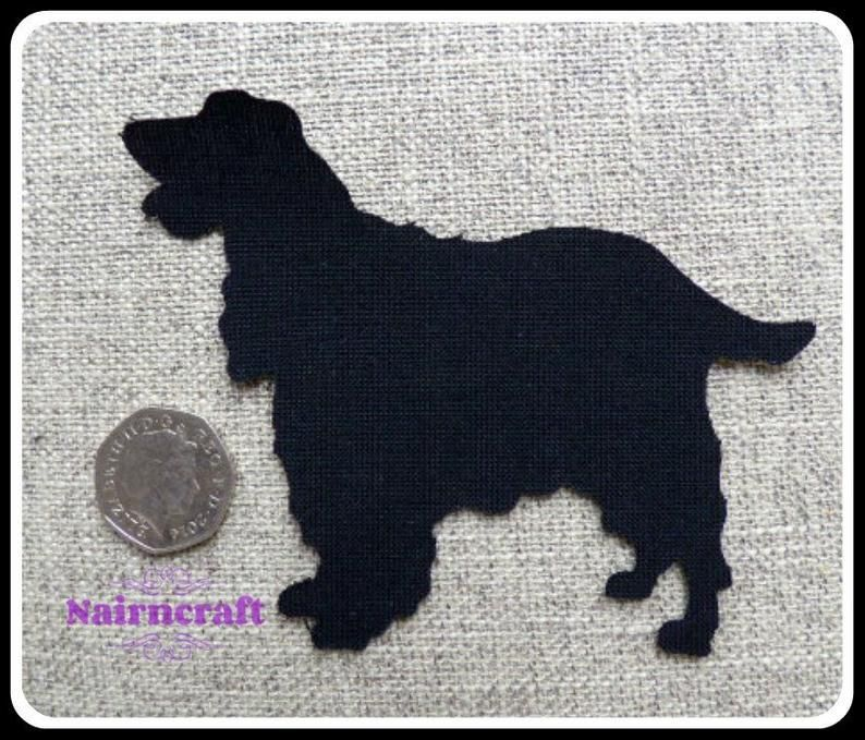 Small Springer Spaniel Iron On Dogs Black Sew On Cut Out Applique